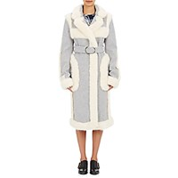 Stella Mccartney Women's Faux Fur Trimmed Coat White Grey White Grey