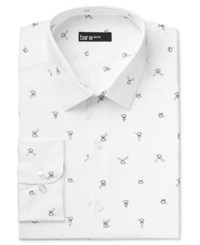 Bar Iii Men's Slim Fit Bow Tie Print Dress Shirt Only At Macy's White