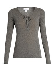Velvet By Graham And Spencer Mandee Lace Up Long Sleeved Top Charcoal