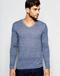 Asos V Neck Jumper In Blue Cotton Denim Twist Nep Grey