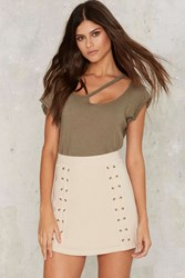 Double Cross Me Lace Up Skirt Beige