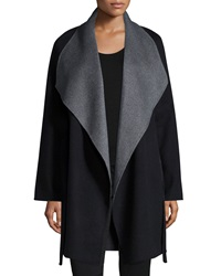 Neiman Marcus Cashmere Collection Cashmere Double Face Two Tone Wrap Coat