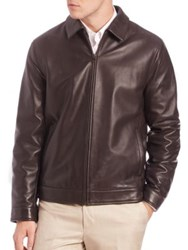 Saks Fifth Avenue Leather Bomber Jacket Brown