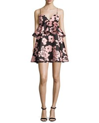 Milly Melody Floral Print Peplum Waist Babydoll Dress Light Pink