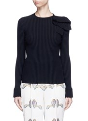 Emilio Pucci Ruffle Cutout Shoulder Rib Knit Top Black