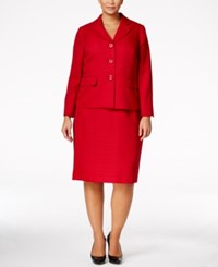 Le Suit Plus Size Tweed Three Button Skirt Scarlet
