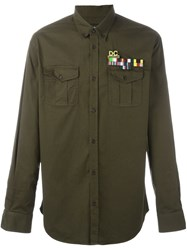 Dsquared2 Military Style Casual Shirt Green