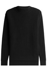 Thierry Mugler Wool Pullover With Metallic Detail On Shoulders Black