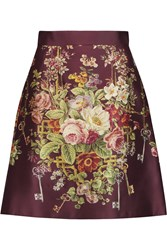 Dolce And Gabbana Printed Silk And Wool Blend Satin Mini Skirt Red