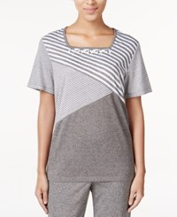 Alfred Dunner Acadia Collection Mixed Print Beaded Top Grey