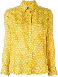 Hermes Herma S Vintage Cap Printed Blouse Yellow And Orange