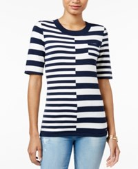 Tommy Hilfiger Striped Elbow Sleeve Sweater Masters Navy Snow White