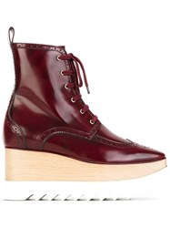 Stella Mccartney 'Elyse' Brogue Ankle Boots Red