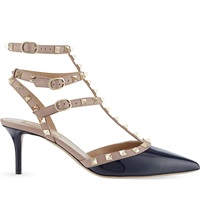 Valentino Rockstud 65 Patent Leather Heeled Courts Navy