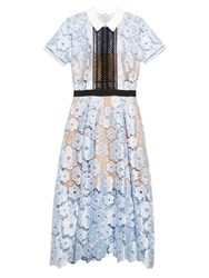 Self Portrait Flower Garden Guipure Lace Dress Blue Multi