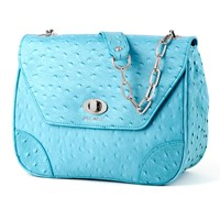 Bijouxx Jewels Ostrich Embossed Leather Handbag Teal