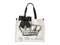 My Flat In London Grand Royale Square Tote Black Natural Tote Handbags
