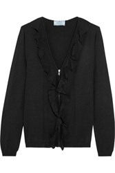 Prada Ruffled Cashmere And Silk Blend Cardigan Black