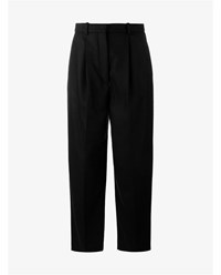 Acne Studios Milli Wool Cashmere Blend Cropped Trousers Navy Grey Denim Metallic Silver