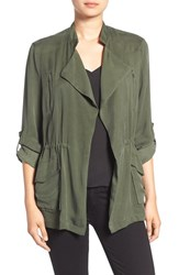 Cupcakes And Cashmere Women's 'Alexander' Drape Front Jacket Army Green