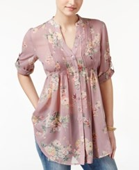 American Rag Pintucked Floral Print Blouse Only At Macy's Light Pink Combo