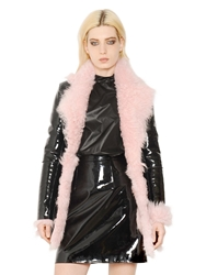 Christopher Kane Patent Leather And Shearling Fur Coat Black Pink