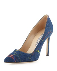 Manolo Blahnik Bb Paint Splatter 105Mm Pump Denim Blue Delave Chiaro Blu