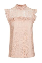 Topshop Tall Lace Ruffle Shell Top Pink