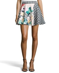 Romeo And Juliet Couture Mixed Floral Print Scuba Circle Skirt Peach