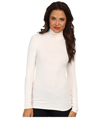 Three Dots 2X1 Viscose L S Turtleneck Gardenia Women's T Shirt White