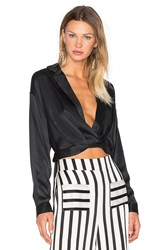 Kendall Kylie Surplice Hi Low Blouse Black