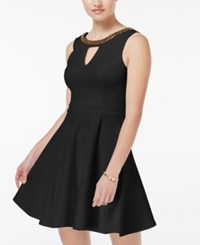 Xoxo Juniors' Beaded Fit And Flare Dress Black