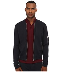 The Kooples Sport Classic Fleece Bomber Jacket Navy Men's Coat