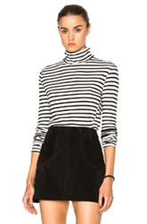 Pam And Gela Turtleneck Zip Tee In Black White Stripes Black White Stripes