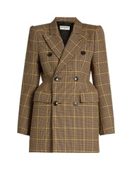 Balenciaga Double Breasted Hound's Tooth Wool Blazer Brown Multi