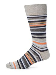 Saks Fifth Avenue Merino Striped Socks Brown Grey Navy
