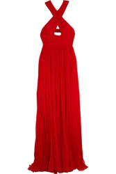 Roberto Cavalli Cutout Pleated Silk Chiffon Gown Red