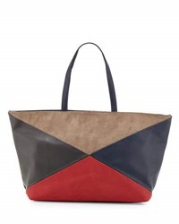 Neiman Marcus Colorblock Perforated Leather Tote Bag Navy Red
