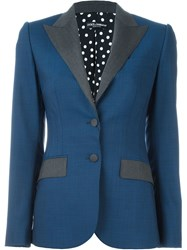 Dolce And Gabbana Peaked Lapel Blazer Blue