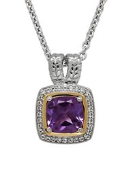 Lord And Taylor Amethyst White Topaz Sterling Silver 14K Yellow Gold Pendant Necklace