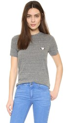 Rodarte Rohearte Embroidered T Shirt Heather Grey Pink Heart