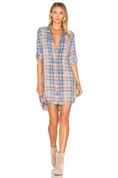 Bella Dahl Frayed Hem Shirt Dress Blue