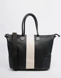 Pieces Tote Bag With Contrast Cream Panel Black White