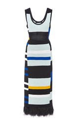 Proenza Schouler Striped Crochet Tank Dress Black White Blue