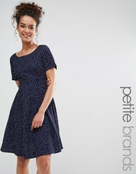 Yumi Petite Dress With Tie Back In Polka Dot Print Navy