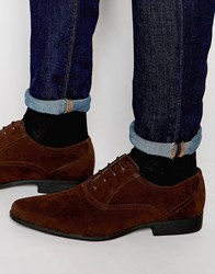Asos Oxford Shoes In Brown Faux Suede Brown