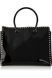 Valentino The Rockstud Patent Leather Tote Black