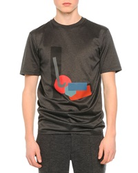 Lanvin Geometric Graphic Print Tee Grey Red