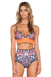 Clover Canyon Native Paisley Bathing Suit Top Orange