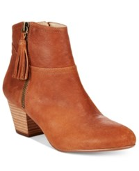 Nine West Hannigan Fringe Block Heel Booties Women's Shoes Dark Tan Leather